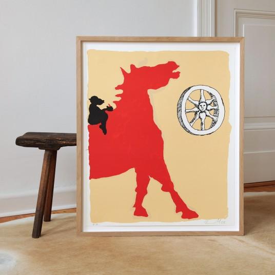 Ohne Titel (Pferd, Affe, Rad)