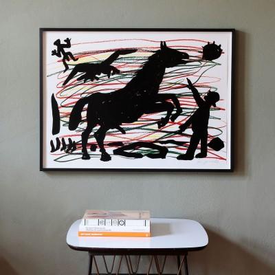 A.R. Penck, Mann mit Pferd